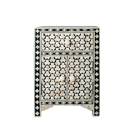 Black Bone Inlay Bedside Table with 1 Drawer 2 Door