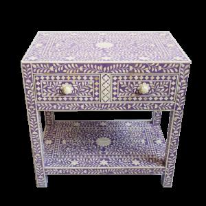 Dark Lavender Bone Inlay Bedside with 2 Drawers