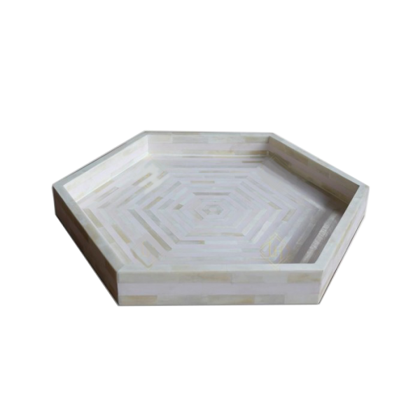 Bone Inlay Tray with Pale Pink Stripes and Hexagon Shape