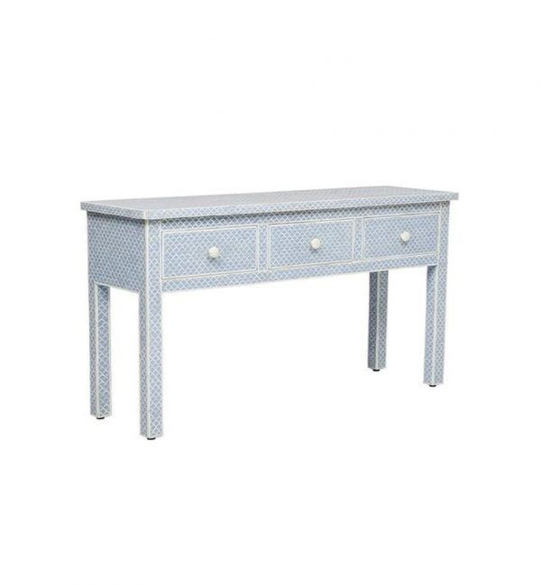 Bone inlay Console with fish Pattern and 3 Drawers