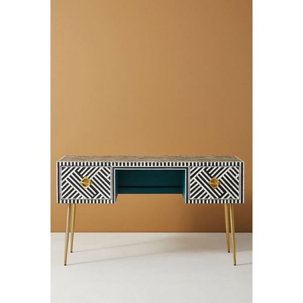 Bone Inlay Desk with brass legs