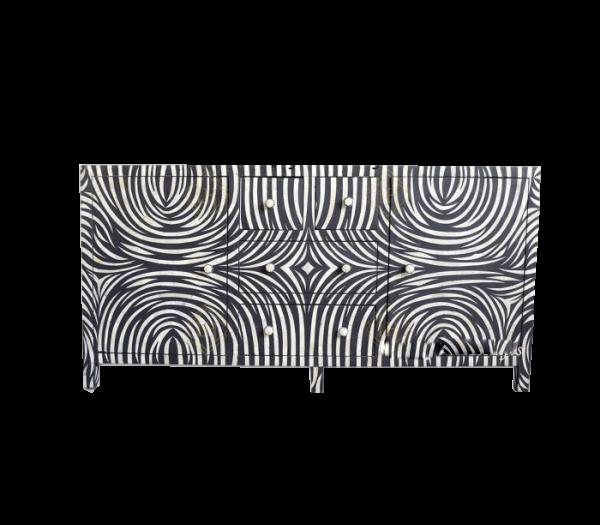 Black Bone Inlay Buffet with Zebra pattern