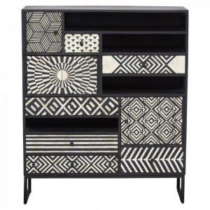 Ariel Bone Inlay Cabinet in Black color front look