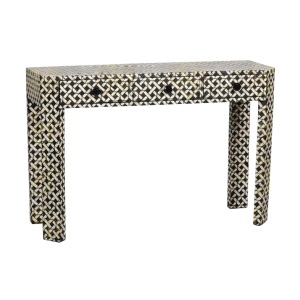 Black Bone Inlay Console with 3 darwers