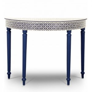 Blue Embossed Bone Inlay Console Round