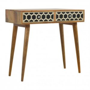 Bone Inlay Console with Honeycomb Design and 2 Drawers