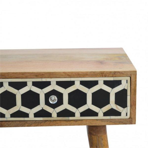 Bone Inlay Console with Honeycomb Design closeup