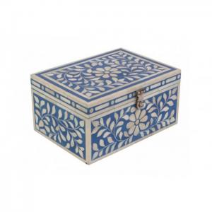 Handmade Blue Bone Inlay Box with Floral Design