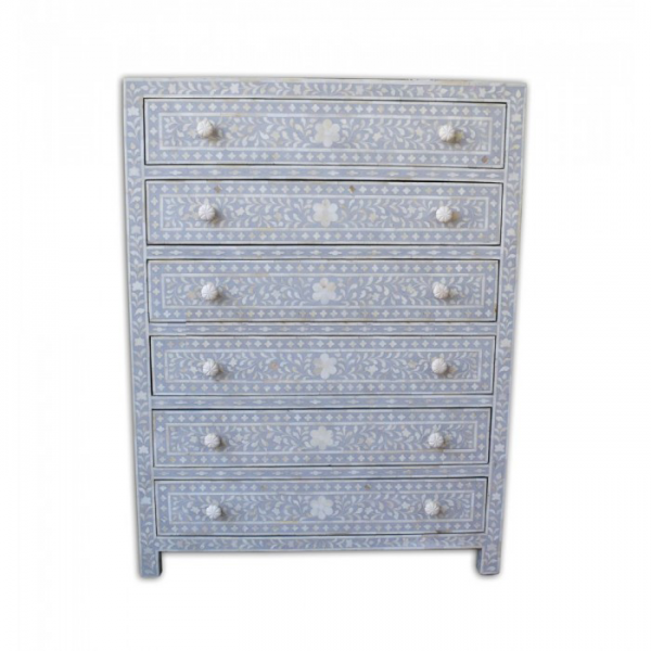 Dove Grey Bone Inlay Chest with 6 Drawers