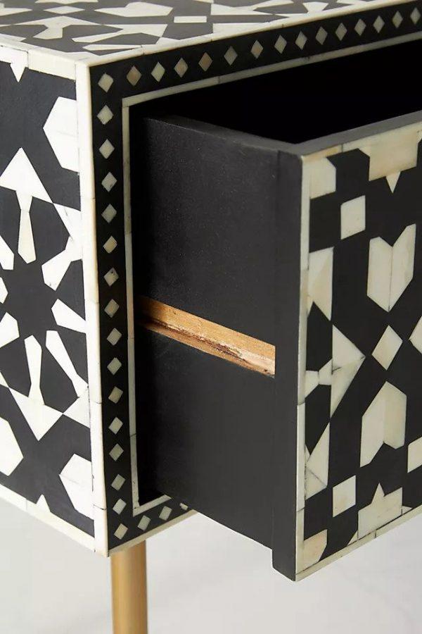 Moroccan Bone Inlay Desk Side Details