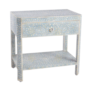 Bone Inlay Bedside with Floral design and 1 Drawer