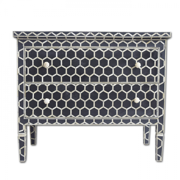 Bone Inlay Chest of Drawers with black Honeycomb Pattern